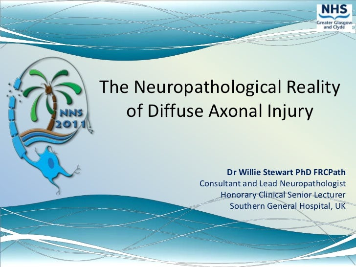 The Neuropathological Reality of Diffuse Axonal Injury<br />Dr Willie Stewart PhD FRCPath<br />Consultant and Lead Neuropa...