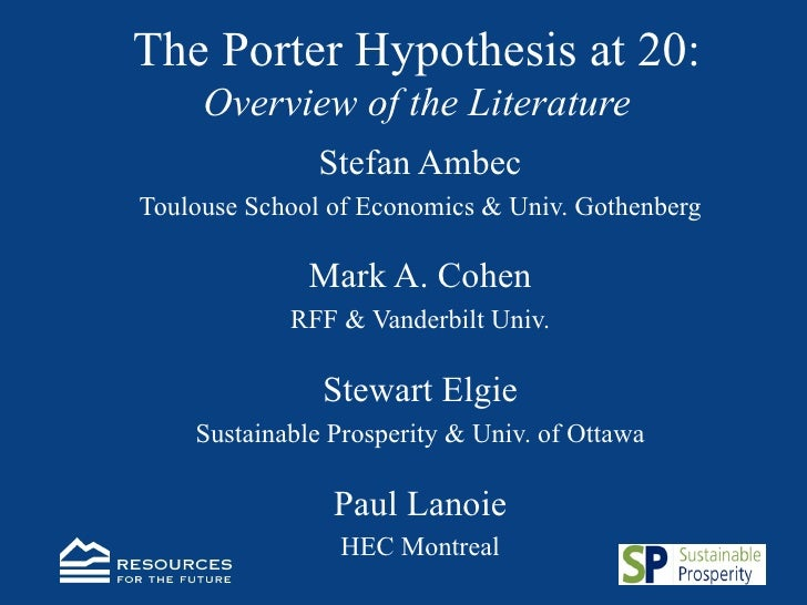 The Porter Hypothesis at 20: Overview of the Literature <ul><li>Stefan Ambec </li></ul><ul><li>Toulouse School of Economic...