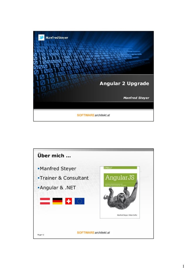 1 Angular 2 Upgrade Manfred Steyer Über mich … Manfred Steyer Trainer & Consultant Angular & .NET Page  2