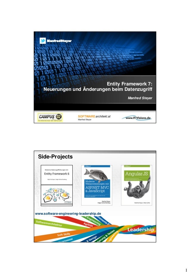 1 Entity Framework 7: Neuerungen und Änderungen beim Datenzugriff Manfred Steyer ManfredSteyer Side-Projects Page  2 www....