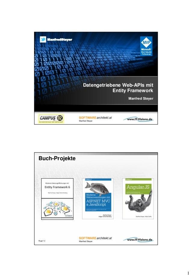 1 Datengetriebene Web-APIs mit Entity Framework Manfred Steyer twitter.com/ManfredSteyer ManfredSteyer Buch-Projekte Page ...