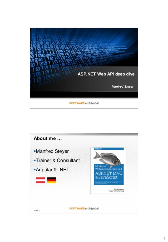 1 ASP.NET Web API deep dive Manfred Steyer About me … Manfred Steyer Trainer & Consultant Angular & .NET Page  2