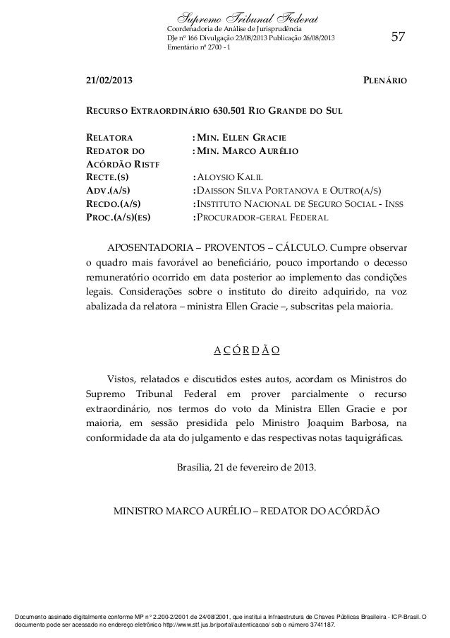 Supremo Tribunal Federal  Coordenadoria de Análise de Jurisprudência DJe nº 166 Divulgação 23/08/2013 Publicação 26/08/201...