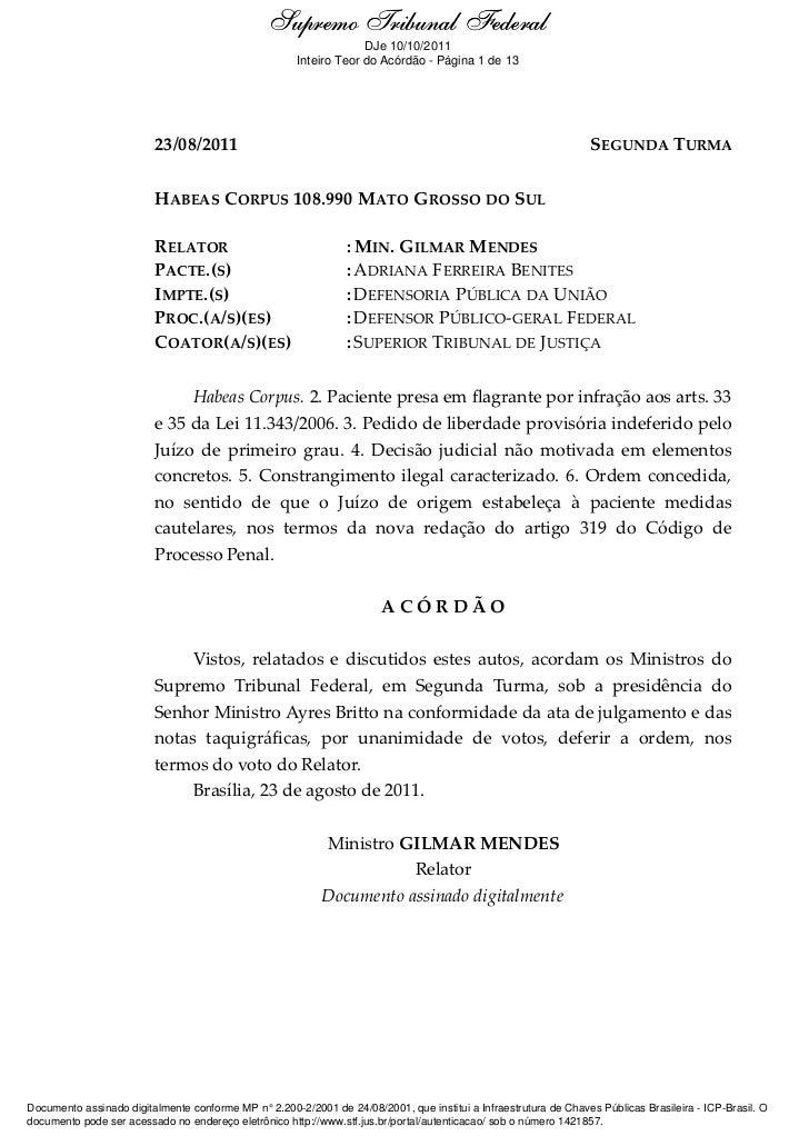 Supremo Tribunal Federal    Ementa e Acórdão                                                                   DJe 10/10/2...
