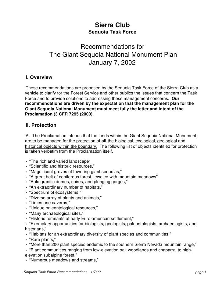 Sequoia Task Force Recommendations for Giant Sequoia ...