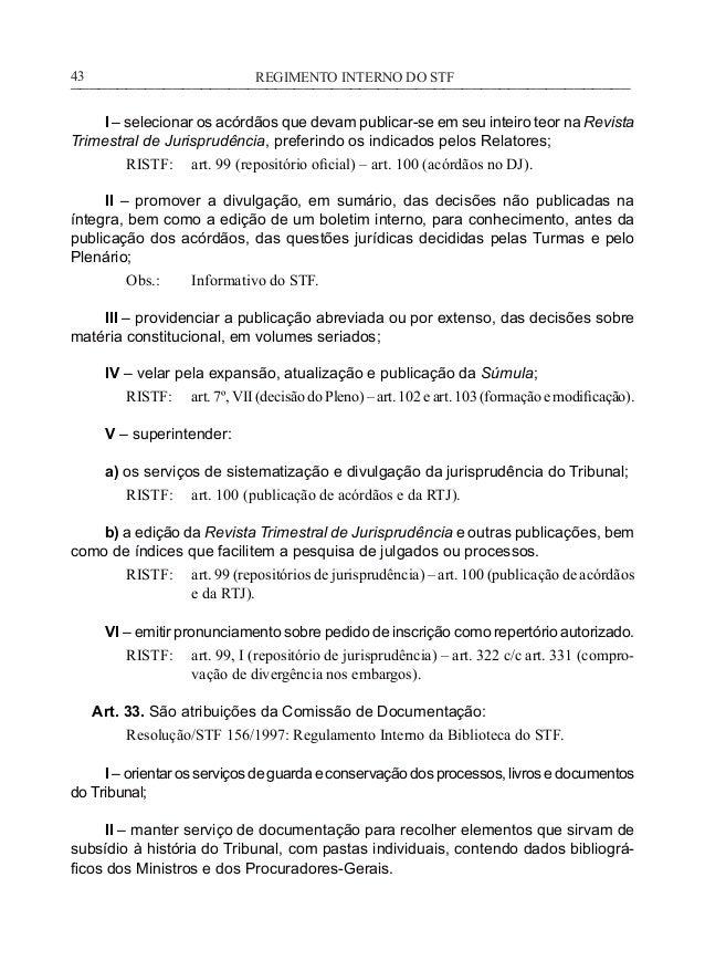 f27b24afdcbe6 43. REGIMENTO INTERNO DO  STF                                                            43 ...