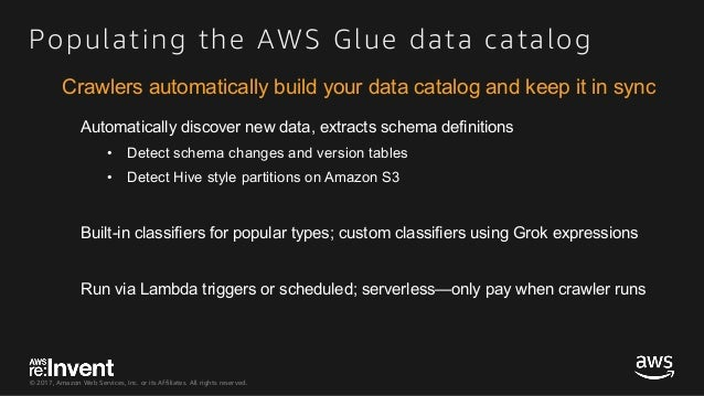 © 2017, Amazon Web Services, Inc. or its Affiliates. All rights reserved. Populating the AWS Glue data catalog Automatical...