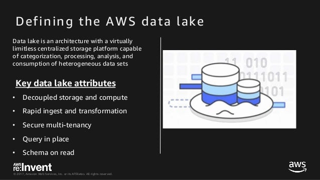 © 2017, Amazon Web Services, Inc. or its Affiliates. All rights reserved. Defining the AWS data lake Data lake is an archi...