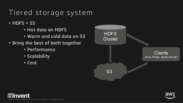 © 2017, Amazon Web Services, Inc. or its Affiliates. All rights reserved. Tiered storage system • HDFS + S3 • Hot data on ...