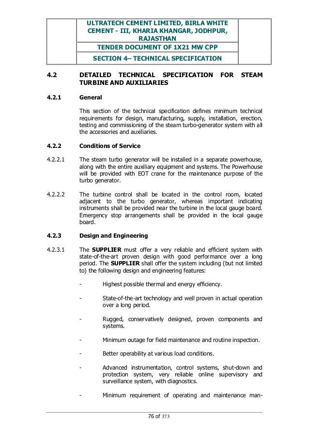 ULTRATECH CEMENT LIMITED, BIRLA WHITE CEMENT - III, KHARIA KHANGAR, JODHPUR, RAJASTHAN TENDER DOCUMENT OF 1X21 MW CPP SECT...