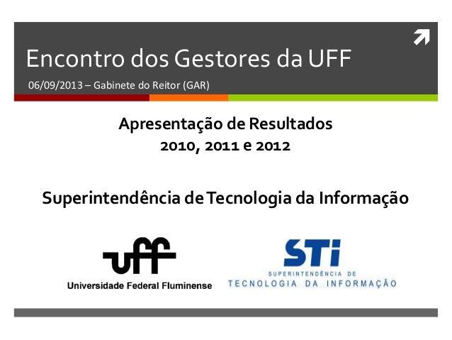  Encontro dos Gestores da UFF 06/09/2013 – Gabinete do Reitor (GAR) Superintendência deTecnologia da Informação Apresenta...