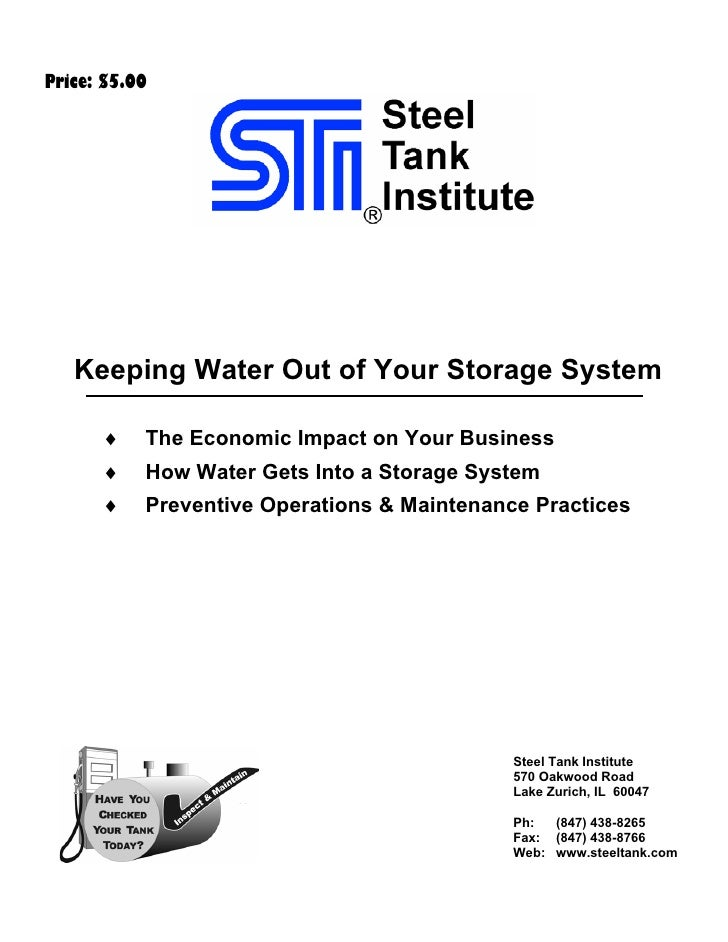 Price: $5.00        Keeping Water Out of Your Storage System        ♦    The Economic Impact on Your Business       ♦    H...