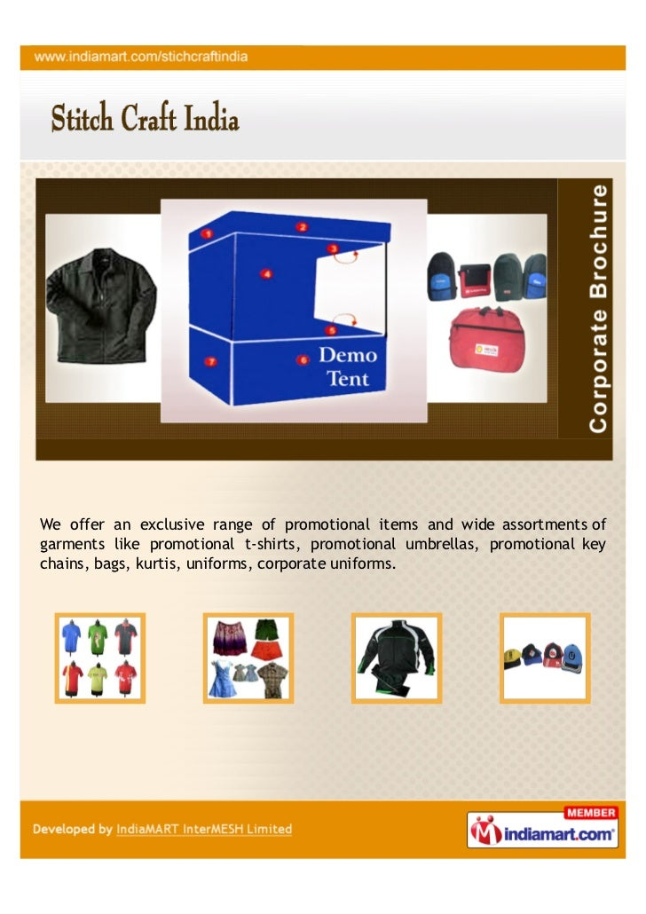 We offer an exclusive range of promotional items and wide assortments ofgarments like promotional t-shirts, promotional um...