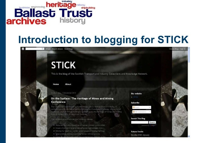 Introduction to blogging for STICK