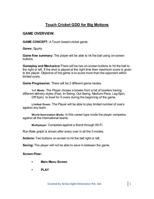 Stick Cricket Game Design Document - Gdd game design document
