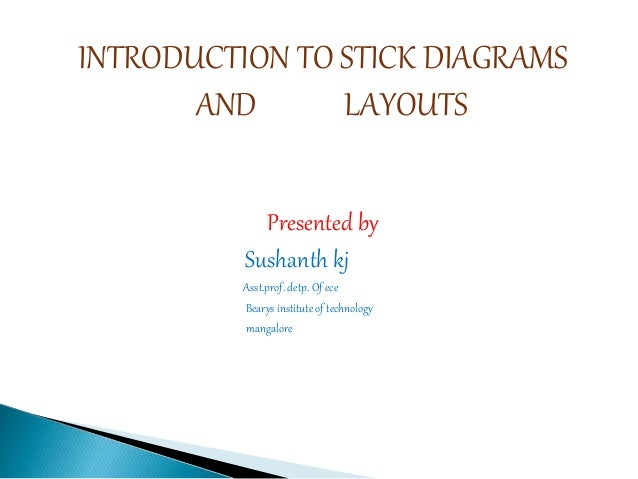 INTRODUCTION TO STICK DIAGRAMS AND LAYOUTS Presented by Sushanth kj Asst.prof. detp. Of ece Bearys institute of technology...