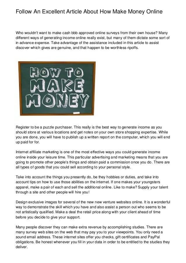 Follow An Excellent Article About How Make Money Online