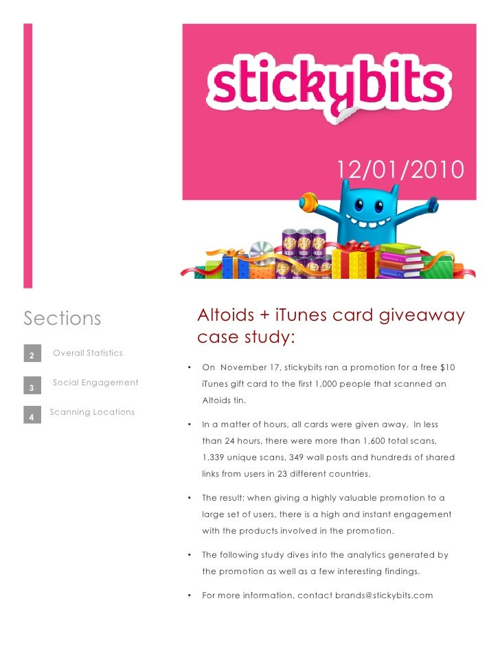 12/01/2010Sections                     Altoids + iTunes card giveaway                             case study:2   Overall S...