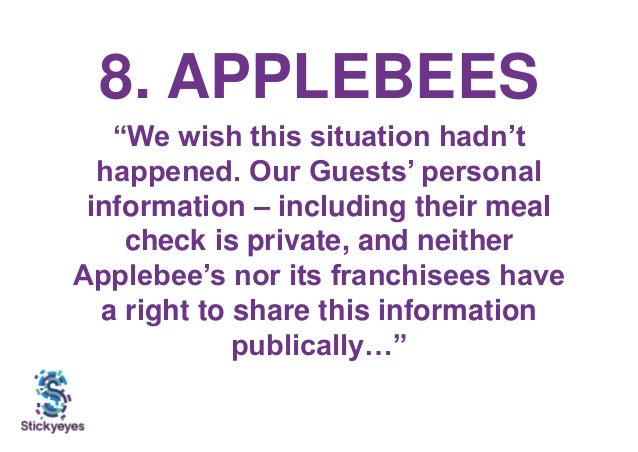 """8. APPLEBEES """"We wish this situation hadn't happened. Our Guests' personal information – including their meal check is pri..."""