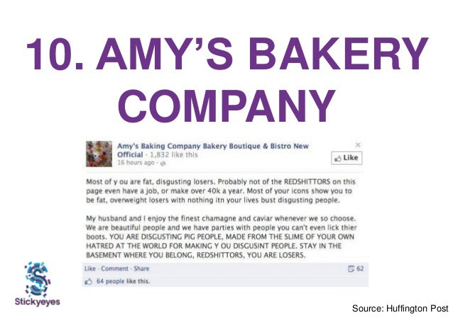 10. AMY'S BAKERY COMPANY Source: Huffington Post