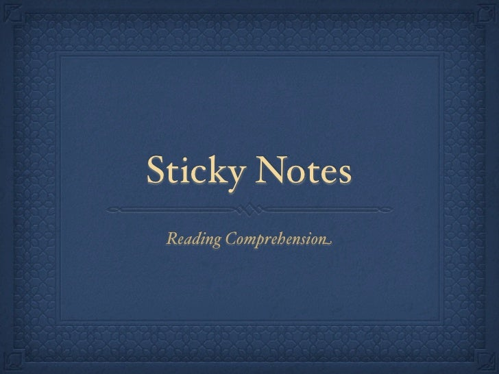 Sticky Notes  Reading Comprehension