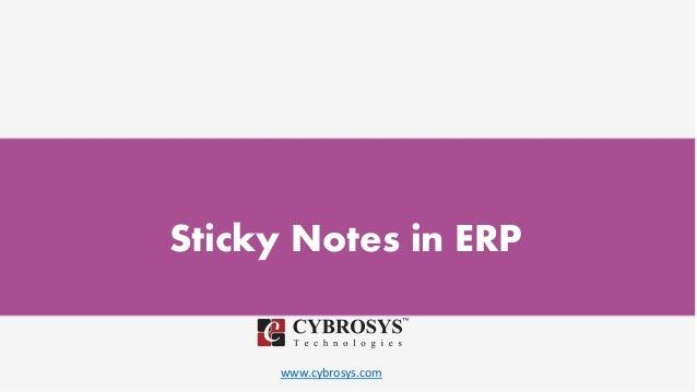 www.cybrosys.com Sticky Notes in ERP