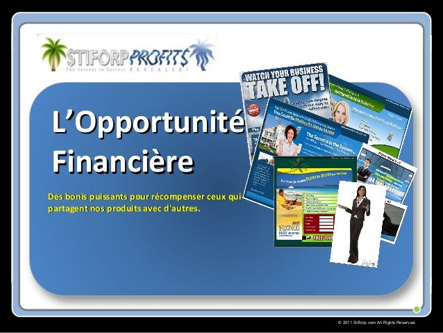 © 2011 Stiforp.com All Rights Reserved. L'OpportunitéL'Opportunité FinancièreFinancière Des bonis puissants pour récompens...
