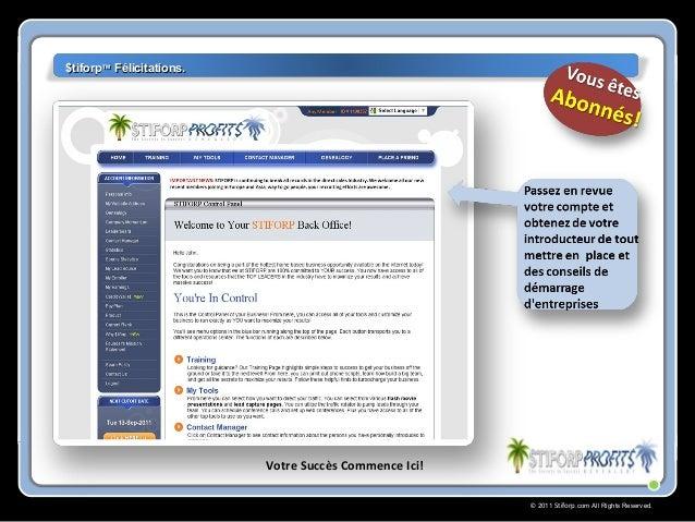 © 2011 Stiforp.com All Rights Reserved. $tiforp$tiforp™™ Félicitations.Félicitations. Votre Succès Commence Ici!