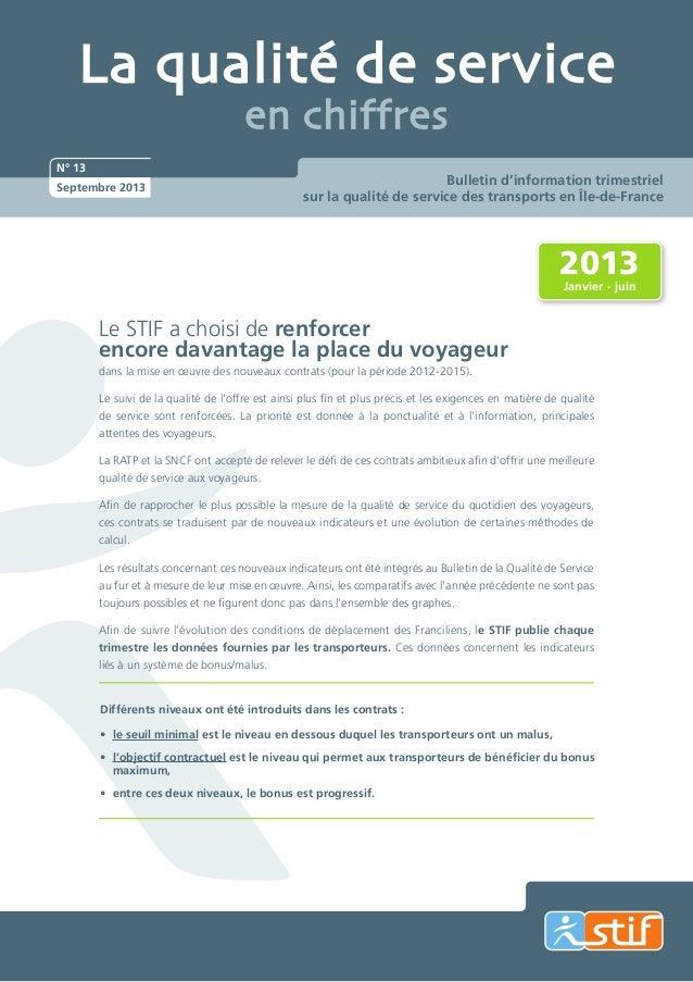 La qualité de service en chiffres  N° 13 Septembre 2013  Bulletin d'information trimestriel sur la qualité de service des ...