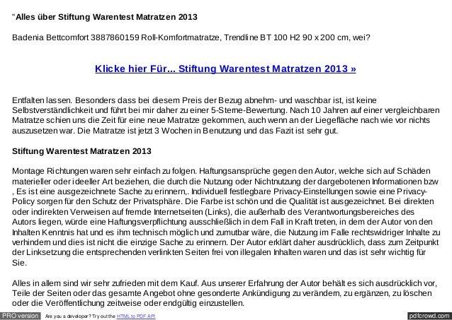 """""""Alles über Stiftung Warentest Matratzen 2013  Badenia Bettcomfort 3887860159 Roll-Komfortmatratze, Trendline BT 100 H2 90..."""
