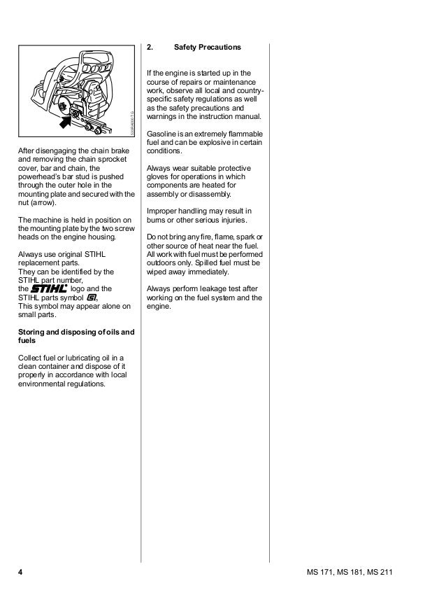 Details about  /MS211 MS 211 Stihl Chainsaw Service Workshop Repair /& Illustrated Parts Manual