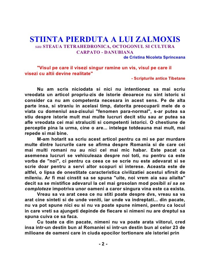 STIINTA PIERDUTA A LUI ZALMOXIS     sau STEAUA TETRAHEDRONICA, OCTOGONUL SI CULTURA                    CARPATO - DANUBIANA...