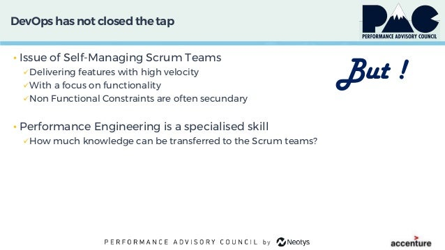 DevOps has not closed thetap • Issue of Self-Managing Scrum Teams Delivering features with high velocity With a focus on...