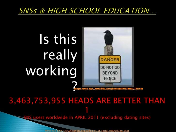 SNSs & HIGH SCHOOL EDUCATION…By Sally Tilley<br />Is this really working?<br />Danger: Raven' http://www.flickr.com/photos...