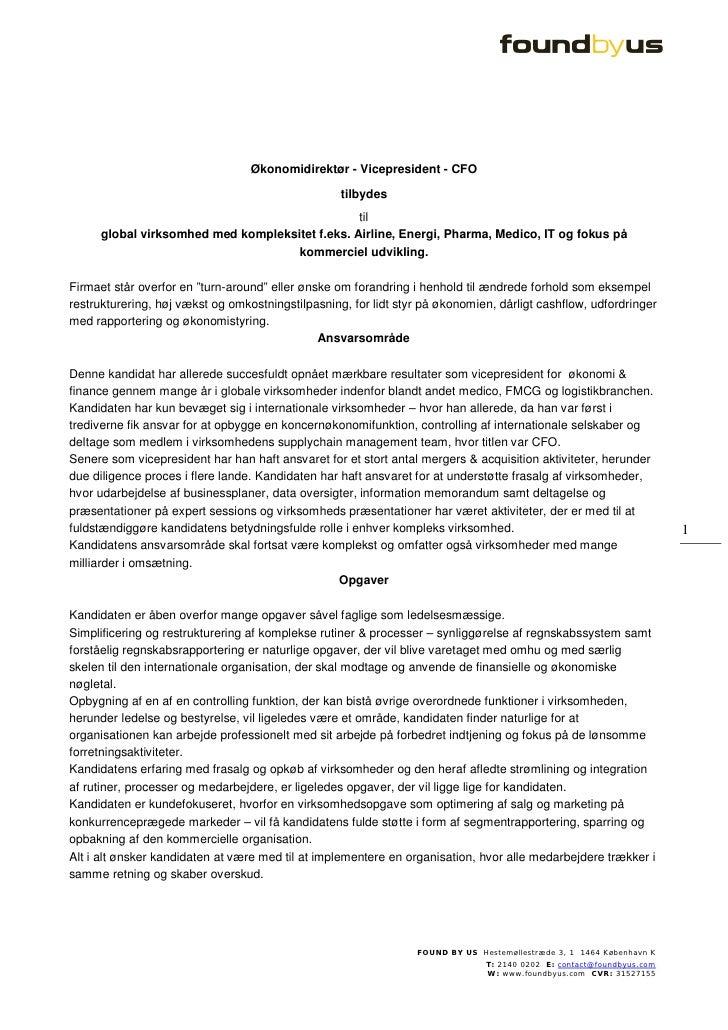 Økonomidirektør - Vicepresident - CFO                                                     tilbydes                        ...