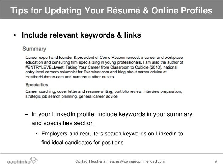 Still Job Searching Tips for Updating Your Online Resume Profiles