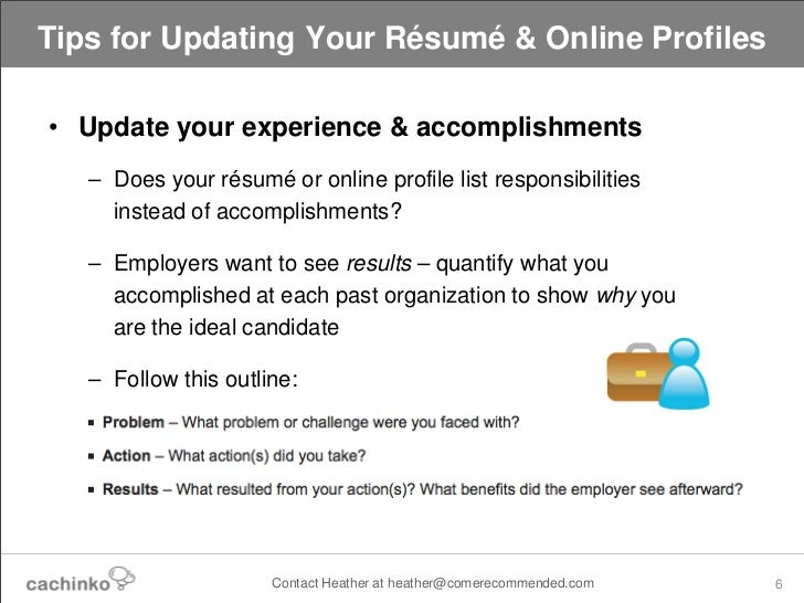 ... 6. Tips For Updating Your Résumé ...  Updating Resume