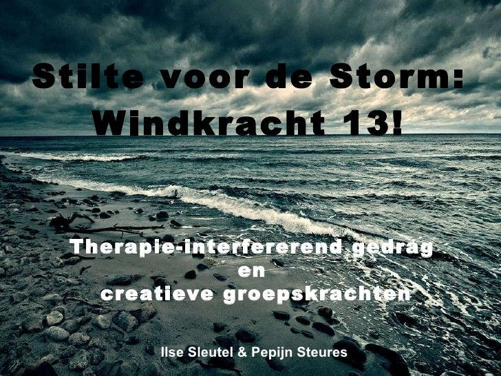Stilte voor de Storm: Windkracht 13! Ilse Sleutel & Pepijn Steures Therapie-interfererend gedrag  en  creatieve groepskrac...