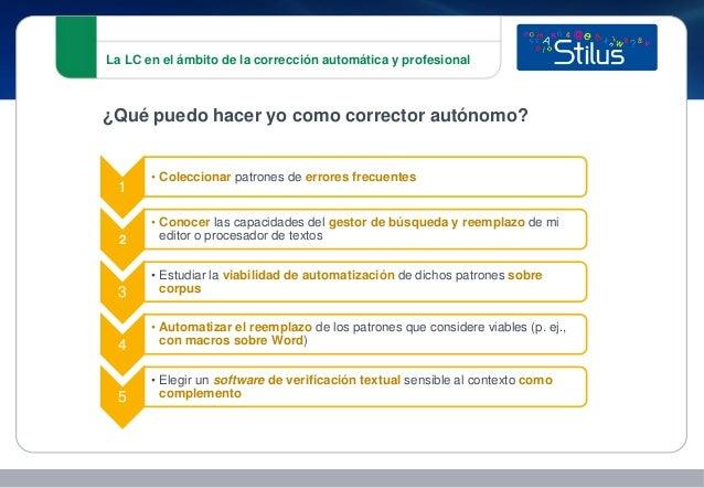La LC en el ámbito de la corrección automática y profesional 1 • Coleccionar patrones de errores frecuentes 2 • Conocer la...