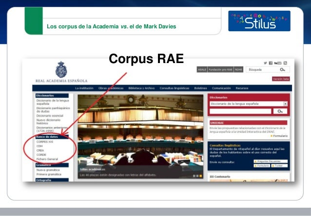 Los corpus de la Academia vs. el de Mark Davies Corpus RAE