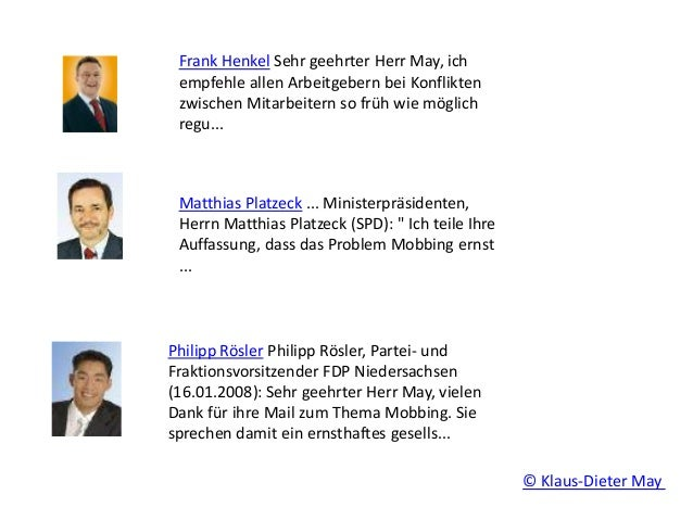 Frank Henkel Sehr geehrter Herr May, ich empfehle allen Arbeitgebern bei Konflikten zwischen Mitarbeitern so früh wie mögl...