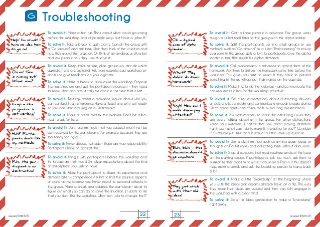 23 Troubleshooting To avoid it: Make a test run. Think about what could go wrong before the workshop and of possible ways ...