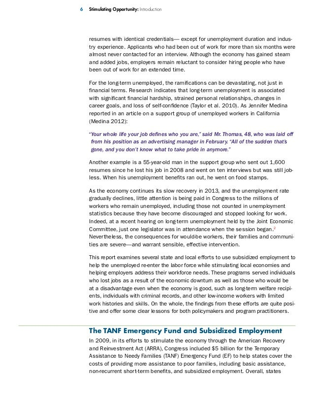 stimulating opportunity an evaluation of arra funded subsidized empl   resumes
