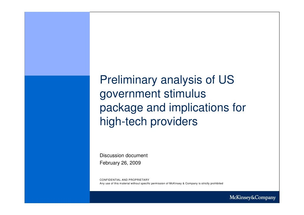 Preliminary analysis of US government stimulus package and implications for high-tech providers  Discussion document Febru...