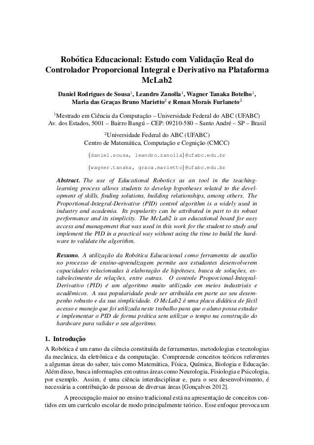 Rob´otica Educacional: Estudo com Validac¸ ˜ao Real do  Controlador Proporcional Integral e Derivativo na Plataforma  McLa...
