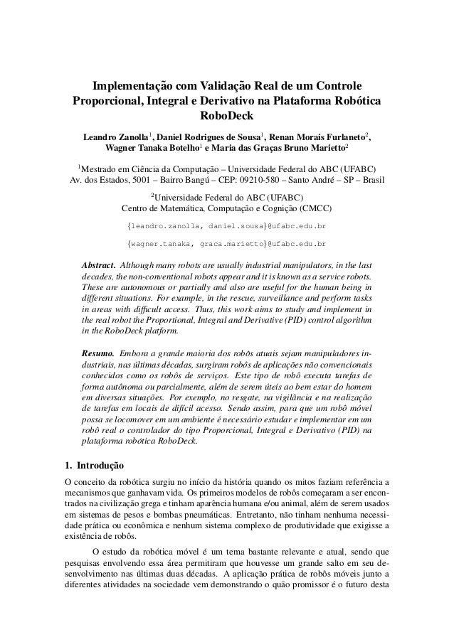 Implementac¸ ˜ao com Validac¸ ˜ao Real de um Controle  Proporcional, Integral e Derivativo na Plataforma Rob´otica  RoboDe...