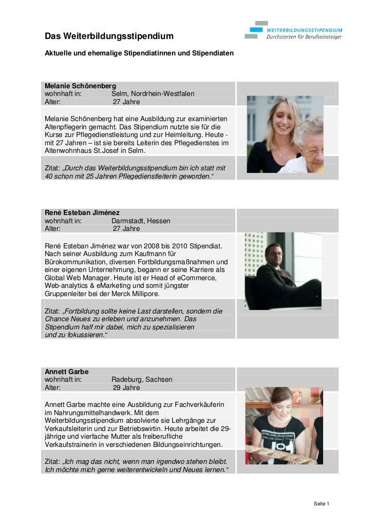 Das WeiterbildungsstipendiumAktuelle und ehemalige Stipendiatinnen und StipendiatenMelanie Schönenbergwohnhaft in:      Se...