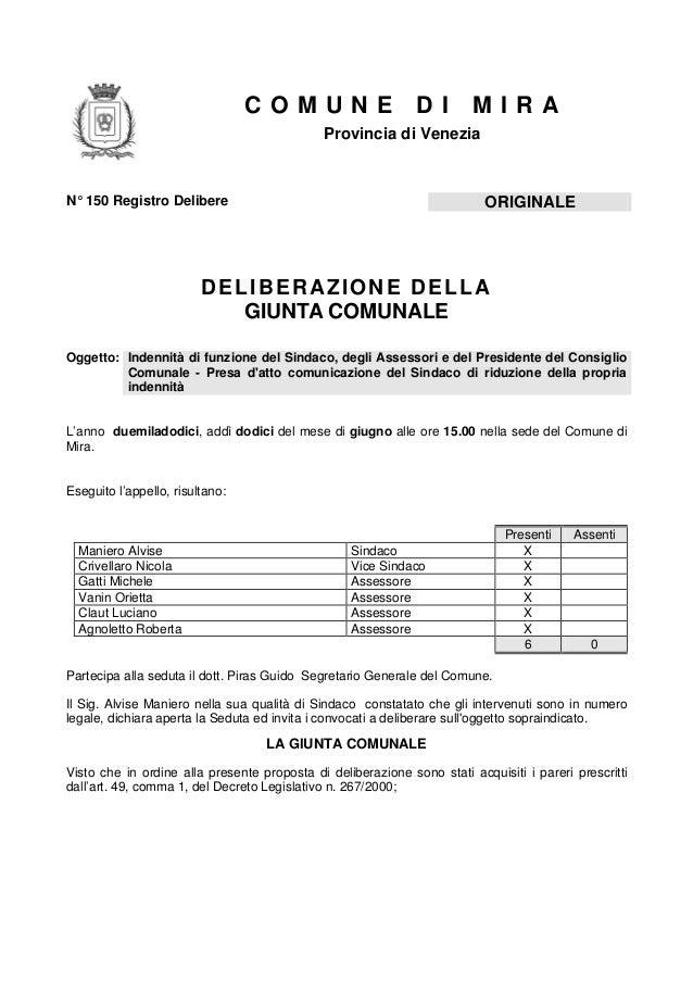 COMUNE                       DI        MIRA                                             Provincia di VeneziaN° 150 Registr...