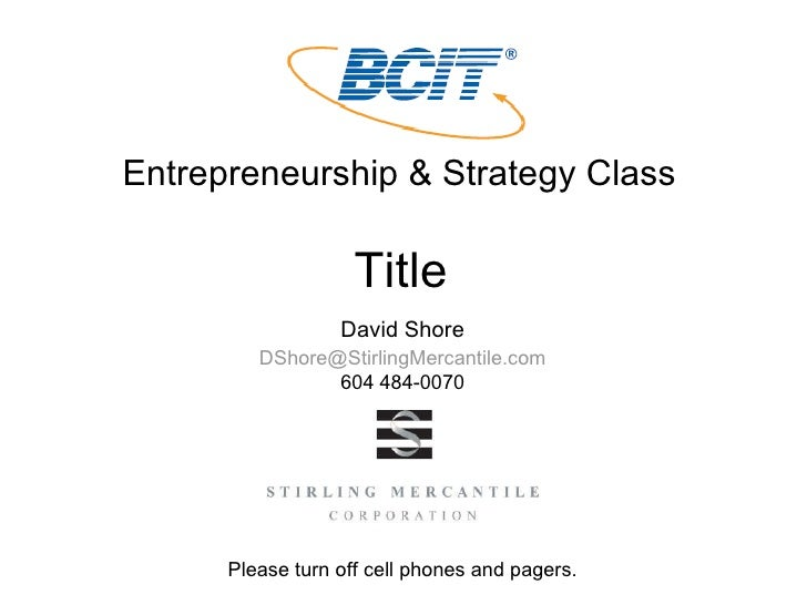 Entrepreneurship & Strategy Class Title