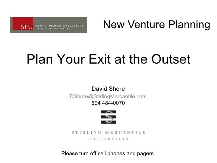 New Venture Planning Plan Your Exit at the Outset